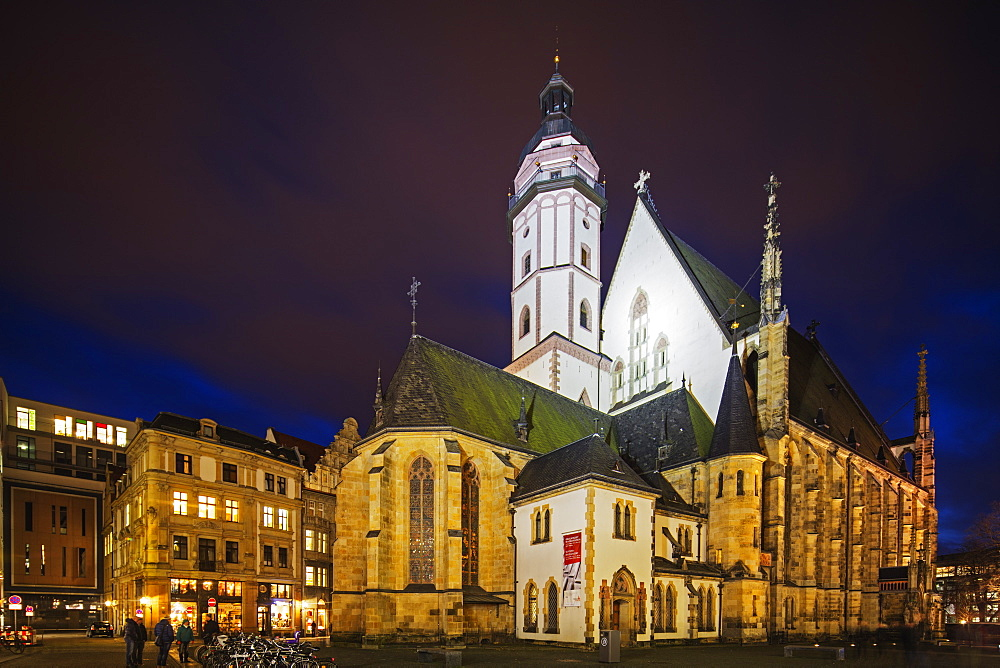 Thomaskirche, the church where composer Johann Sebastian Bach was kappelmeister, Leipzig, Saxony, Germany, Europe