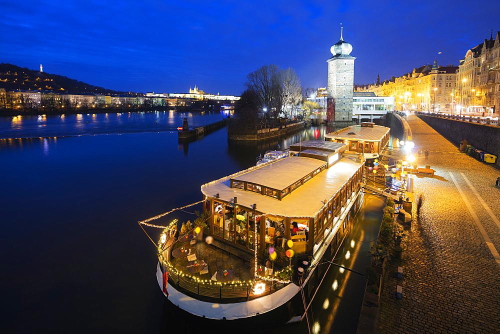 Floating restaurant, Prague, Czech Republic, Europe