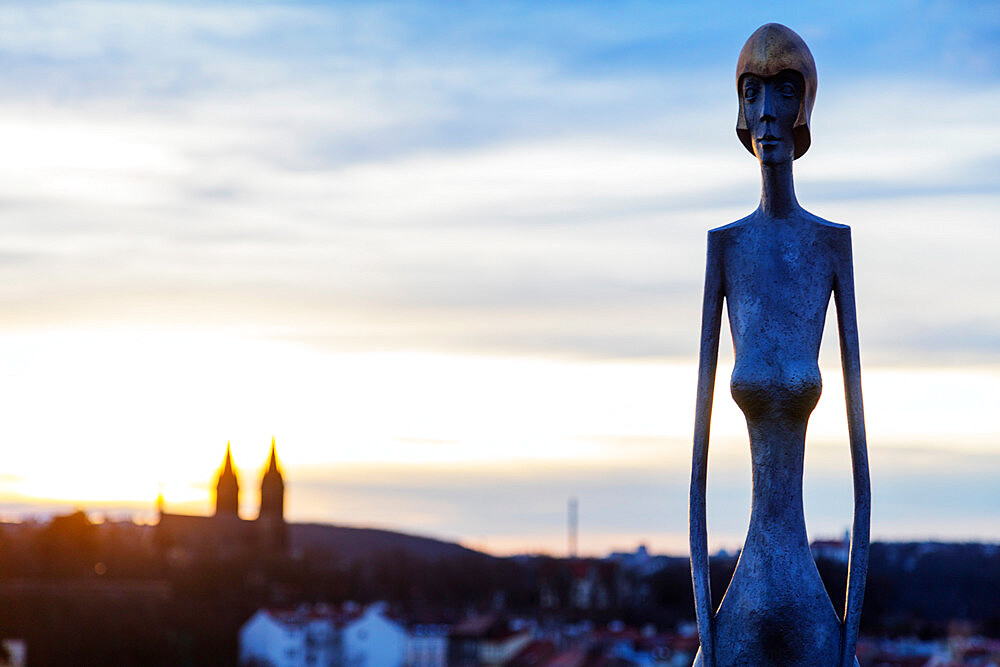 Modern art installations at the Bastion, bronze Guardian Strazkyne, Prague, Czech Republic, Europe