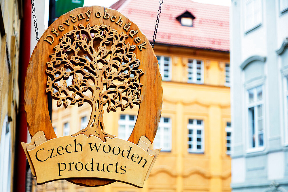 Czech handicraft sign, Prague, Czech Republic, Europe - 733-7808