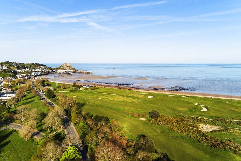 Aerial view of Royal Jersey Golf Course, Mont Orgueil Castle (Gorey Castle), Gorey, Jersey, Channel Islands, United Kingdom, Europe