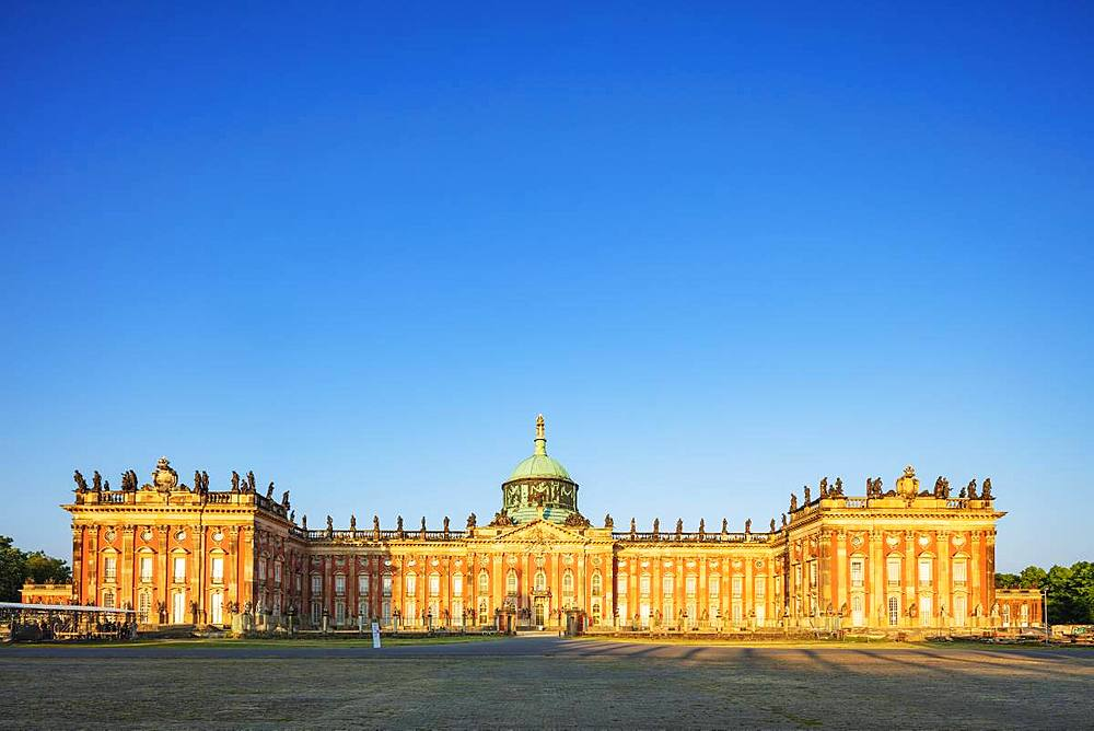 Europe, Germany, Brandenburg, Potsdam, Unesco site, Sanssouci park, Prussian Baroque New Palace (Neues Palais) built by King Friedrich II