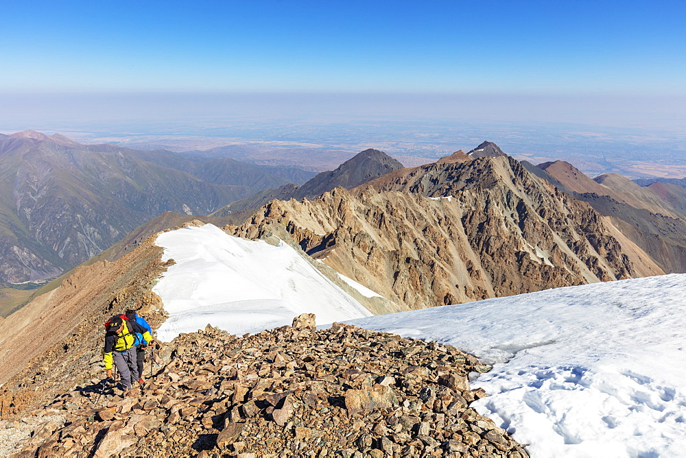 Hikers on Mount Uchityel, Ala Archa National Park, Bishkek, Kyrgyzstan, Central Asia, Asia