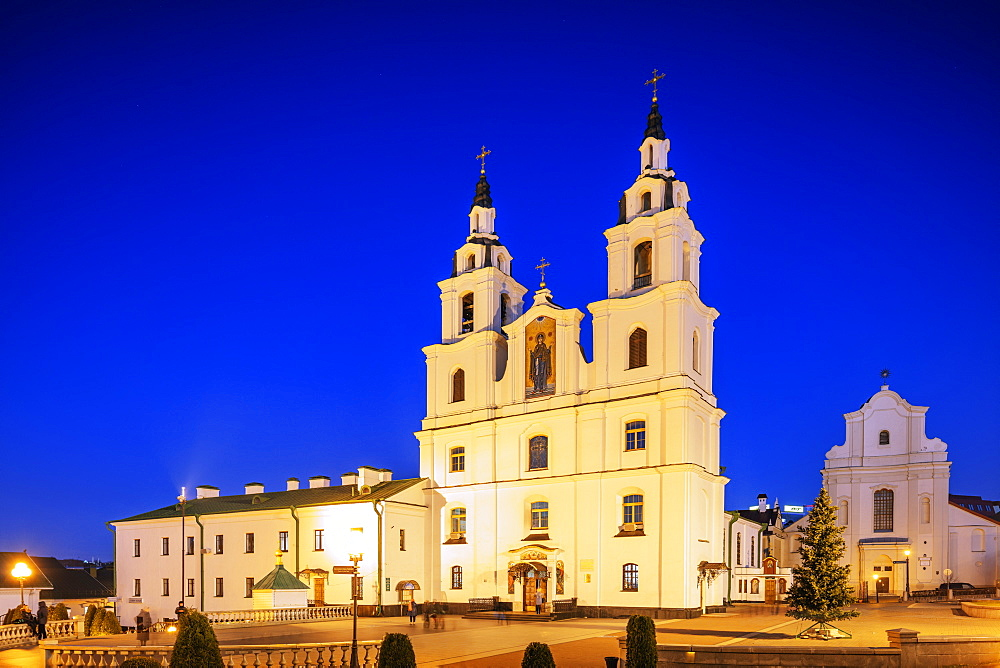 Holy Spirit Cathedral at dusk, Minsk, Belarus, Eastern Europe