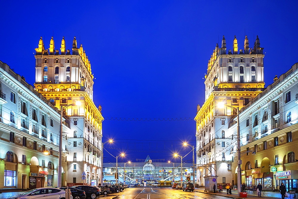 The Gates Of Minsk and Railway Station Square at dusk, Minsk, Belarus, Eastern Europe