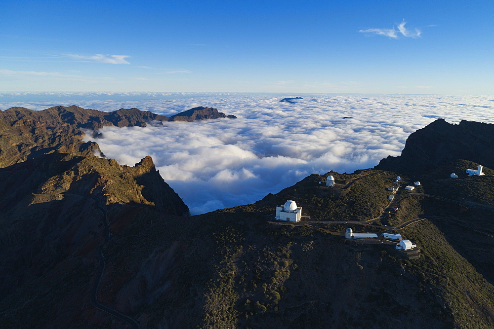 Europe, Spain, Canary Islands, La Palma, Unesco Biosphere site, aerial view of telescope observatory near National Park Caldera de Taburiente - 733-8436