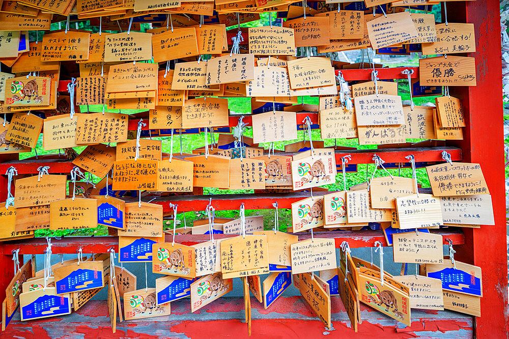 Japan, Honshu, Tohoku, Aomori prefecture, Iwakisan jinja shrine, wooden plaques with prayers and wishes