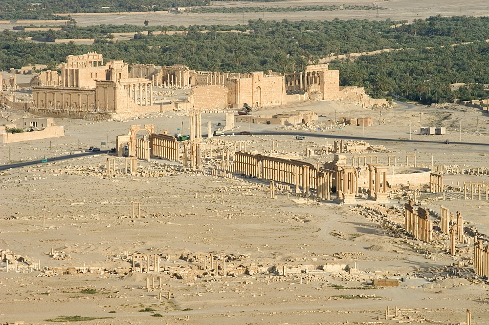 Hill top view, archaelogical ruins, Palmyra, UNESCO World Heritage Site, Syria, Middle East
