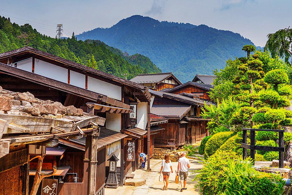 Nakasendo old post town of Tsumago, Kiso Valley, Nagano prefecture, Honshu, Japan, Asia