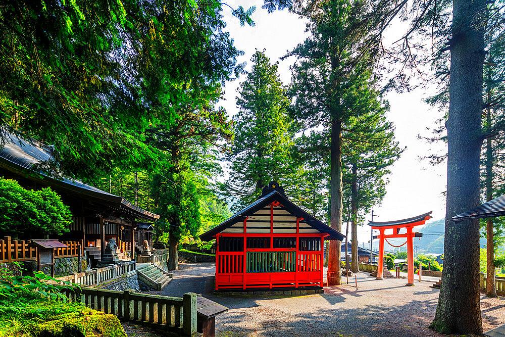 Japan, Honshu, Nagano prefecture, Nakasendo old post town of Tsumago, Tsumago shrine