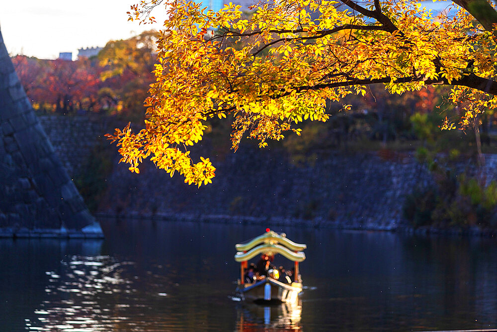 Sightseeing boat, Osaka Castle, Osaka, Kansai, Japan, Asia