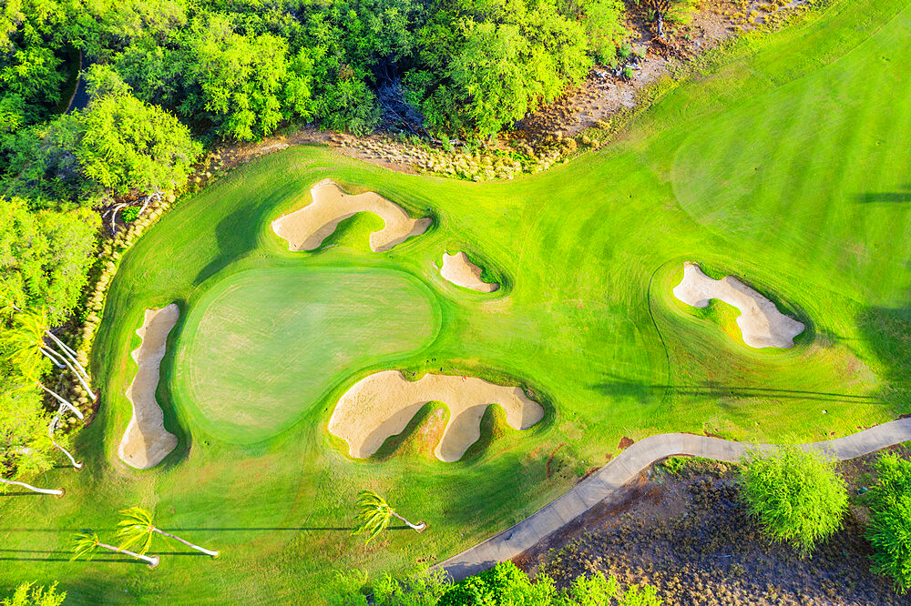 Aerial view of Mauna Kea golf course, west coast resort, Big Island, Hawaii, United States of America, North America