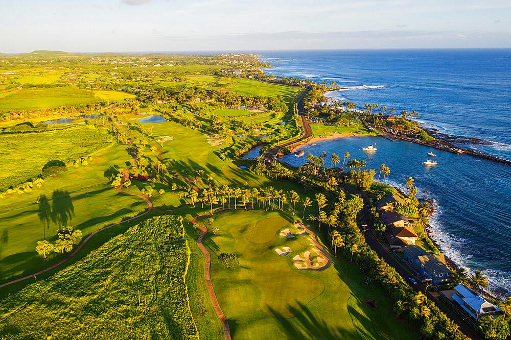 Aerial view by done of Poipu golf course, Kauai Island, Hawaii, United States of America, North America