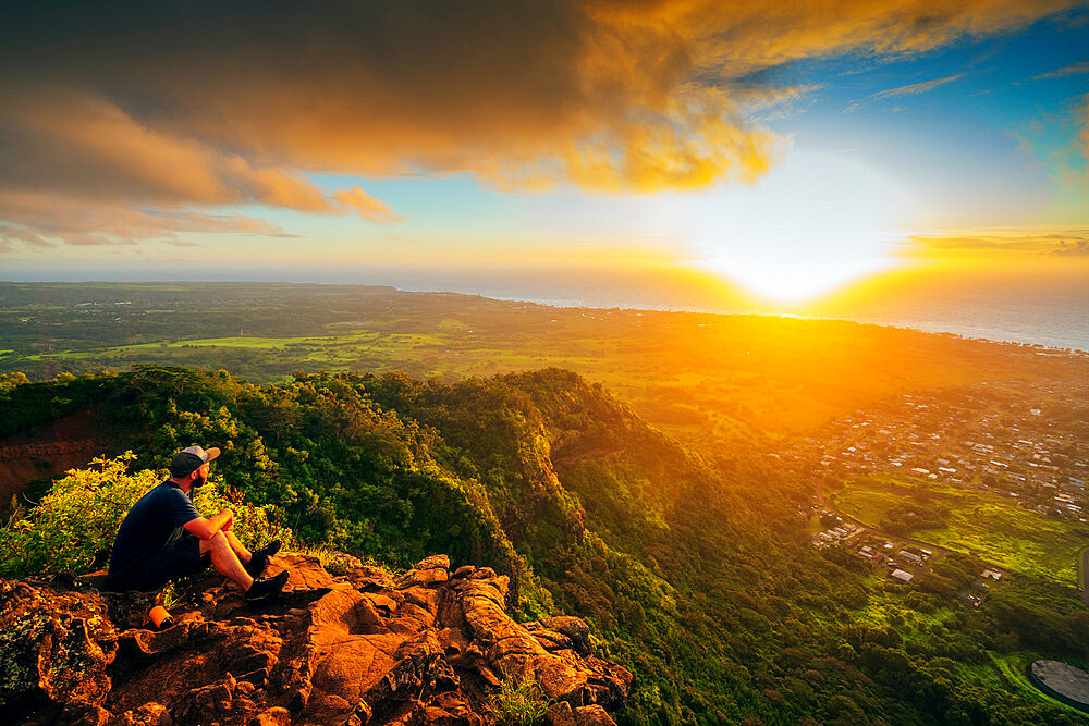 Nounou Sleeping Giant trail sunrise, Kauai Island, Hawaii, United States of America, North America