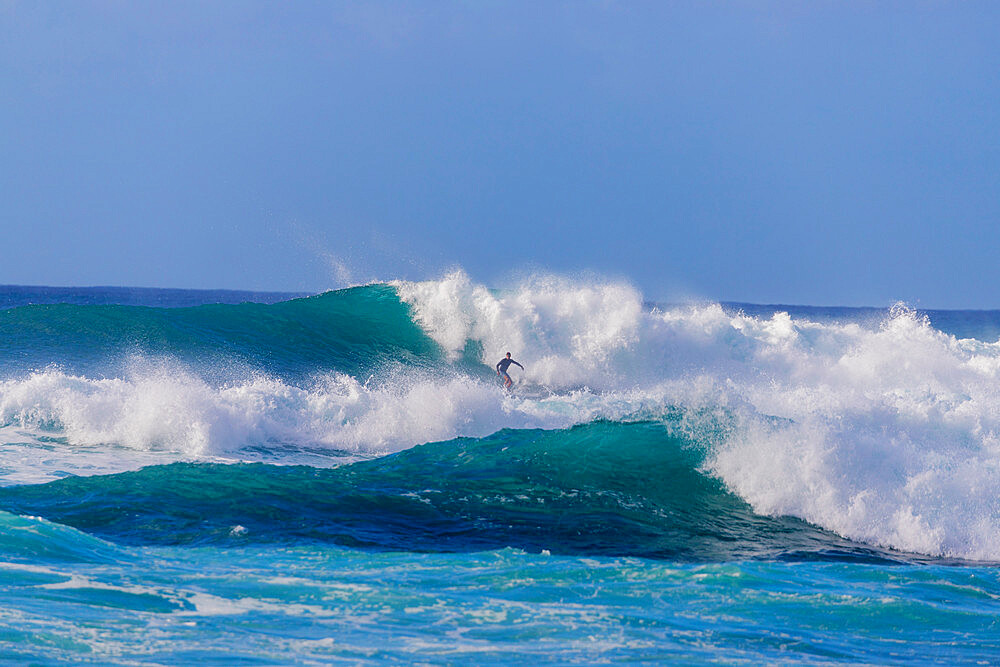 Surfer on the North Shore, Oahu Island, Hawaii, United States of America, North America