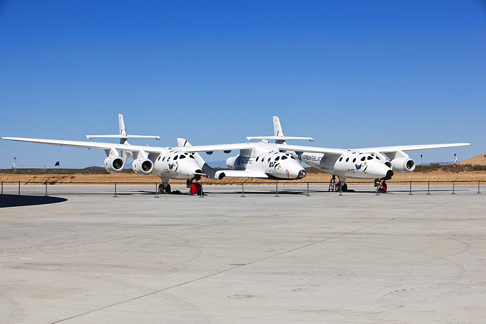 Virgin Galactic's White Knight 2 with Spaceship 2 on the runway at the Virgin Galactic Gateway, Upham, New Mexico, United States of America, North America - 734-140