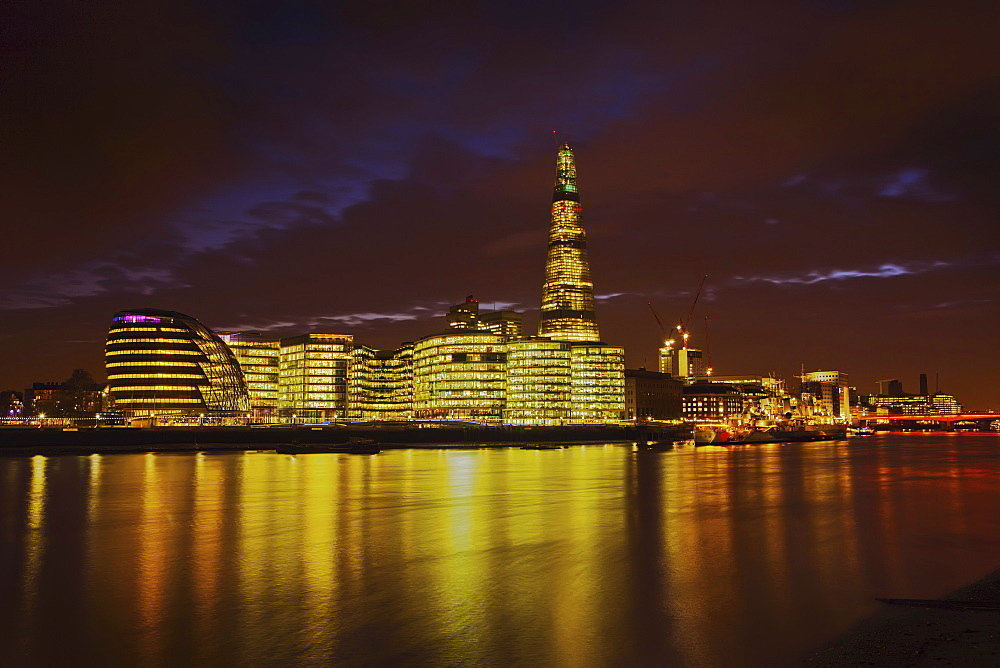 The Shard, City Hall, More London Place, Southwark Crown court and HMS Belfast at night, London, England, United Kingdom, Europe - 734-147