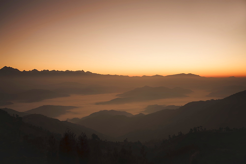 Himalayas at sunrise, near Ngarkot, Bagmati, Nepal, Asia - 734-179