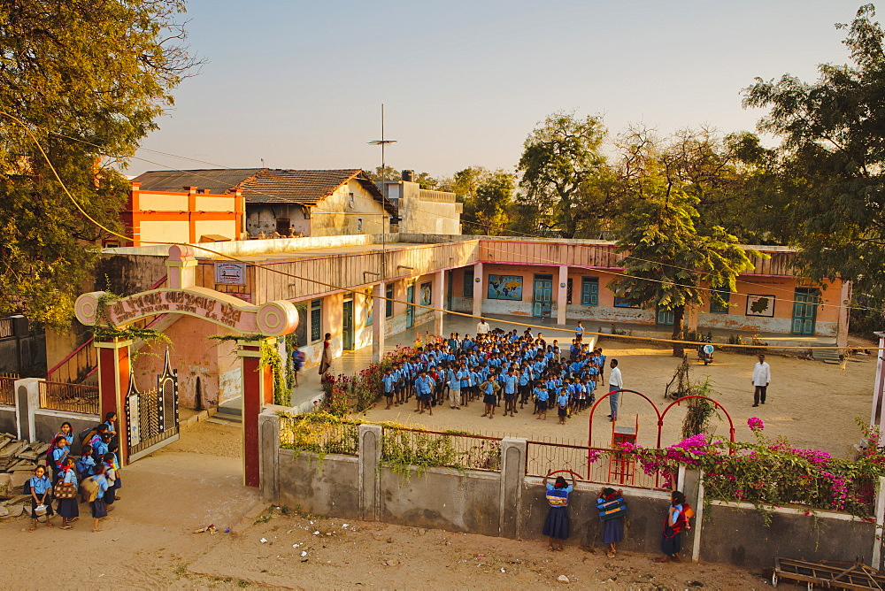 Local first school in rural village, Saijpur Ras, Gujarat, India, Asia - 734-226