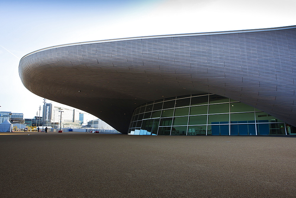 The entrance to the the Aquatics Centre in the Olympic Park, London, England, United Kingdom, Europe - 734-230