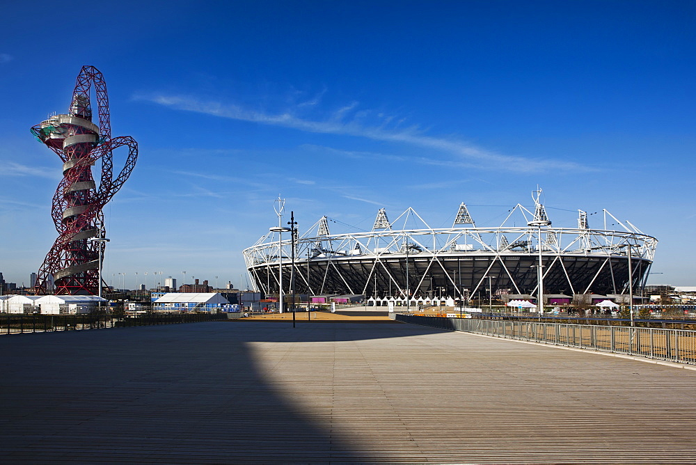 The Olympic Stadium with The Arcelor Mittal Orbit viewed from Stratford Way, London, England, United Kingdom, Europe - 734-231