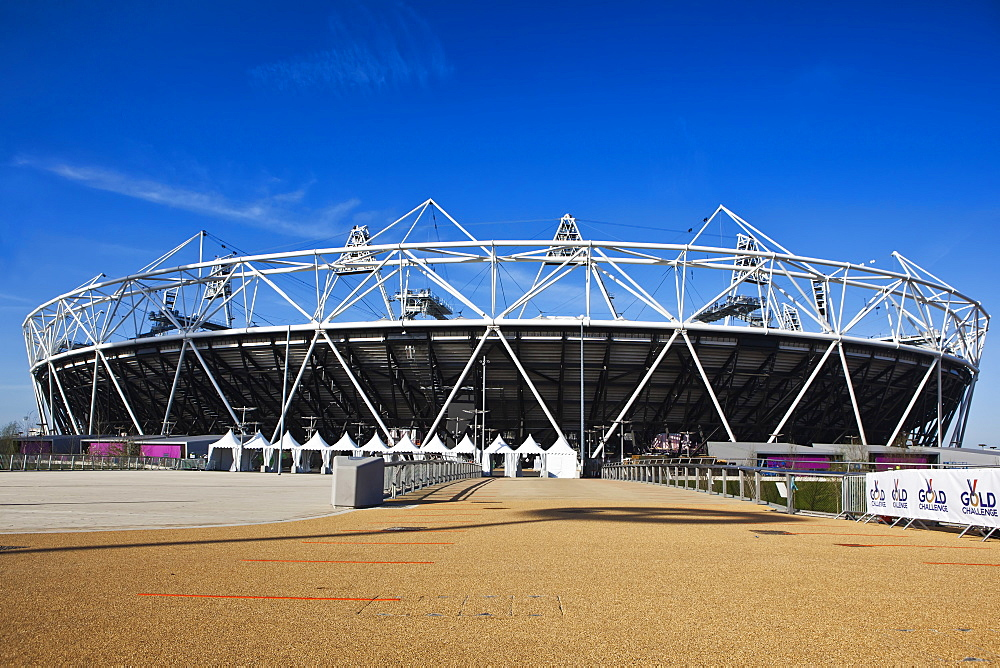 The Olympic Stadium viewed from Stratford Way, London, England, United Kingdom, Europe - 734-232