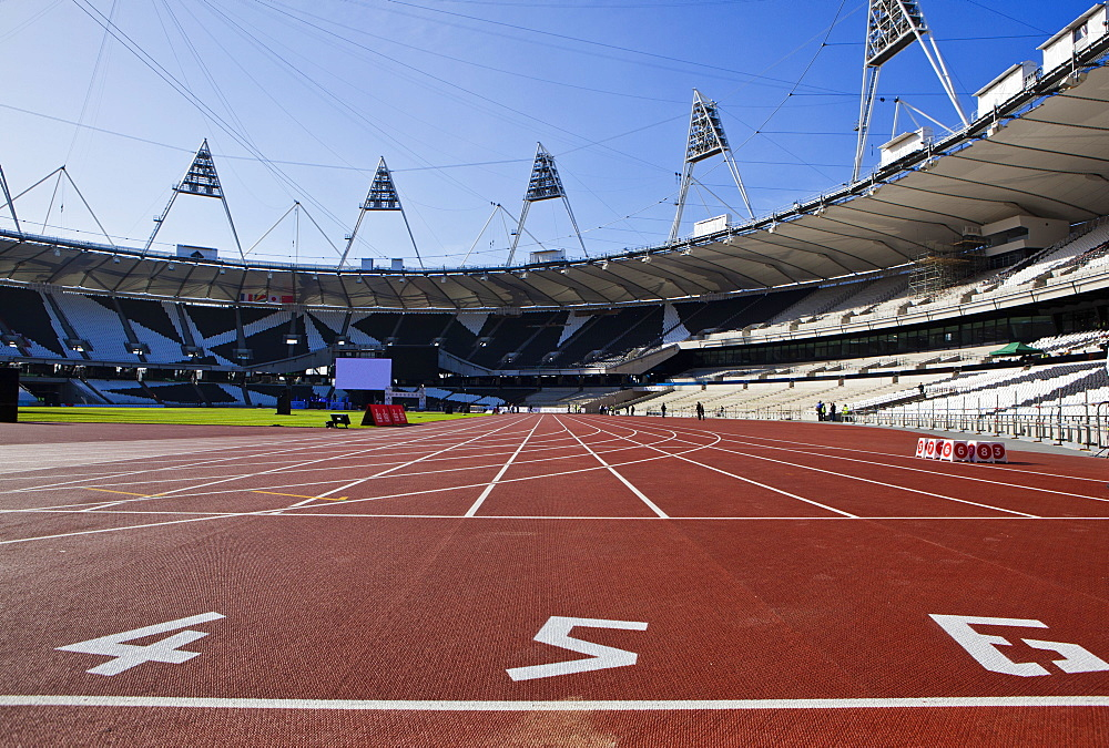 The start line of the 100m inside The Olympic Stadium, London, England, United Kingdom, Europe - 734-234