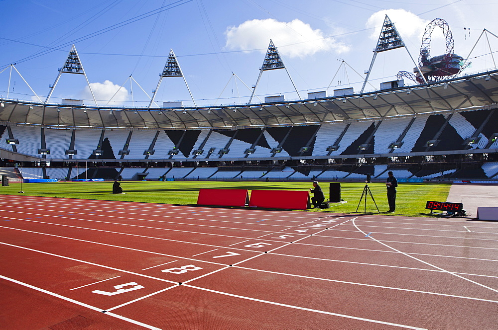 The finishing line of the athletics track inside The Olympic Stadium, London, England, United Kingdom, Europe - 734-235