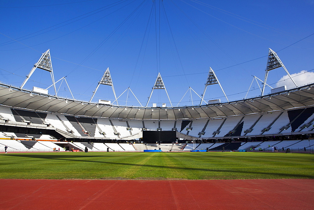 Inside The Olympic Stadium with the athletics field, London, England, United Kingdom, Europe - 734-236
