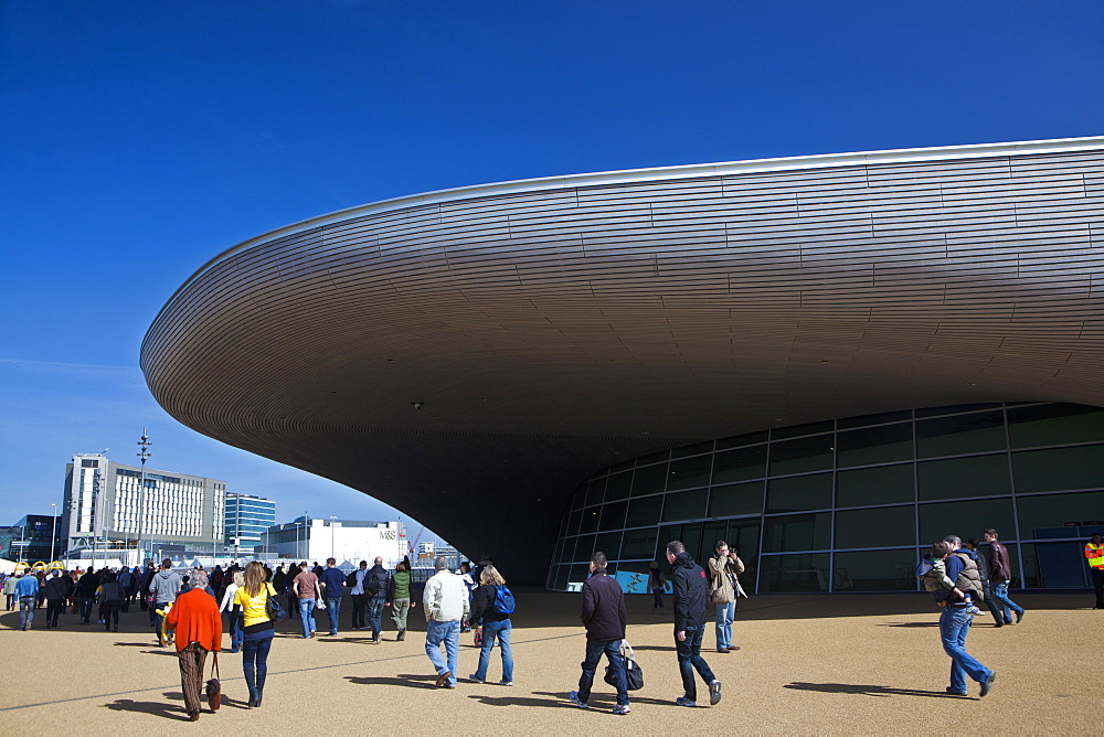 The entrance to the the Aquatics Centre in the Olympic Park during the Gold Challenge event, London, England, United Kingdom, Europe - 734-241