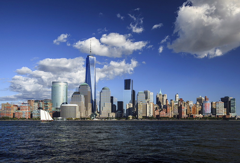Manhattan financial district skyline as seen from Jersey City, New York, United States of America, North America - 734-254
