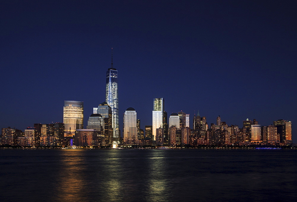 Manhattan financial district skyline as seen from Jersey City, New York, United States of America, North America - 734-255