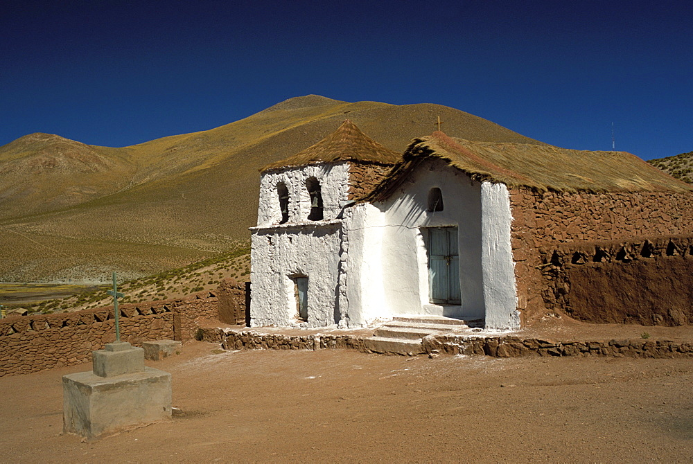 Exterior of a small church in arid landscape near Al Tatio geysers, Atacama desert, Chile, South America