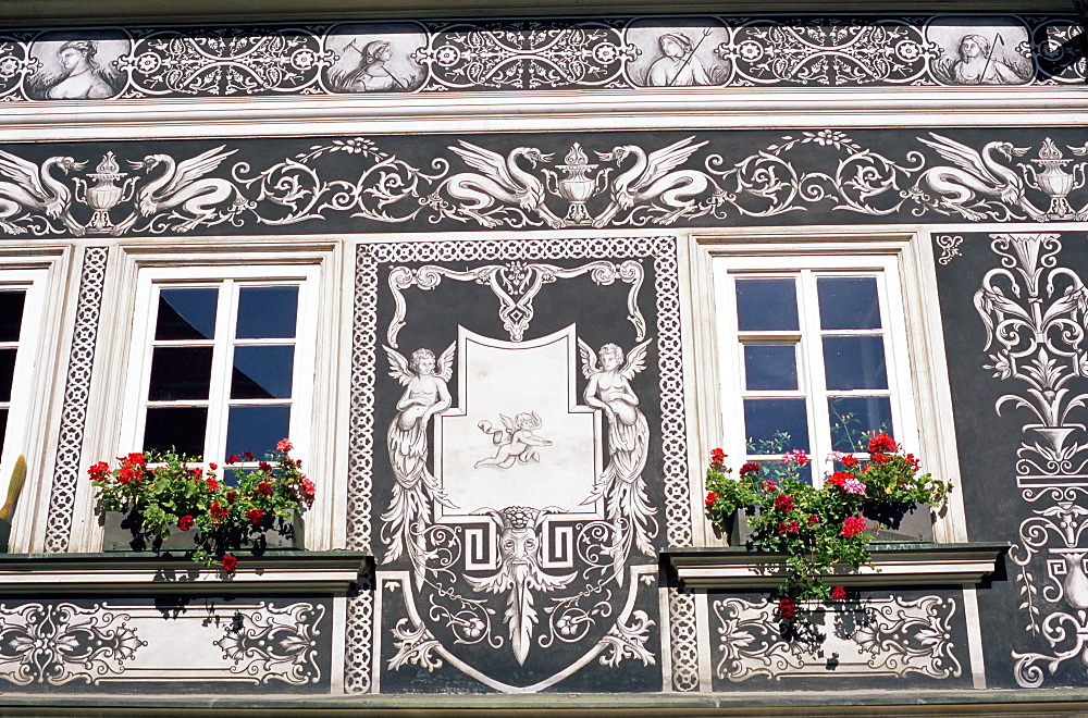 Detail of decoration on Renaissance house in Janska Street, Mala Strana, Prague, Czech Republic, Europe