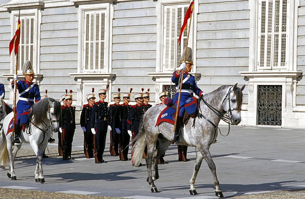 Changing of the guard at Palacio Real (Royal Palace), Centro, Madrid, Spain, Europe