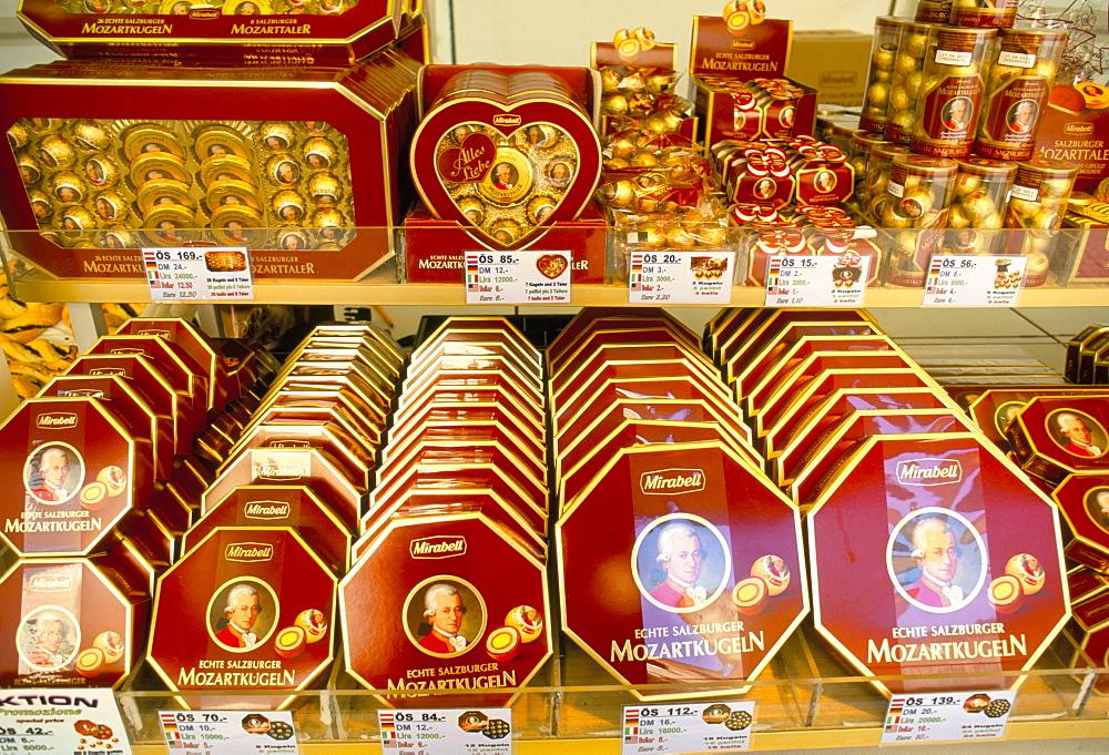 Famous Mozart chocolates, Salzburg, Austria, Europe
