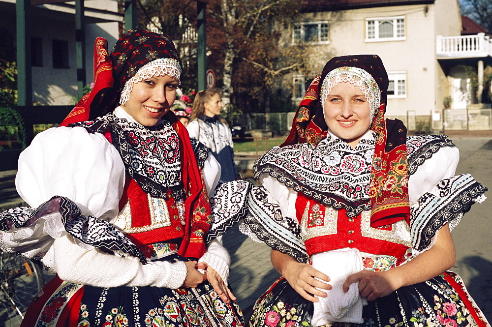Ladies in traditional dress, Traditional Dress Feast Festival, Milotice village, Moravian Slovacko folk region, Milotiice, Brnensko, Czech Republic, Europe - 737-286