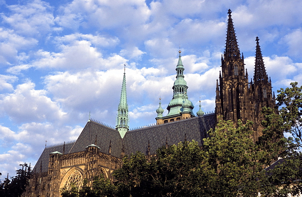 Roof line of Gothic spires of St. Vitus Cathedral, Prague Castle, Hradcany, Prague, Czech Republic, Europe