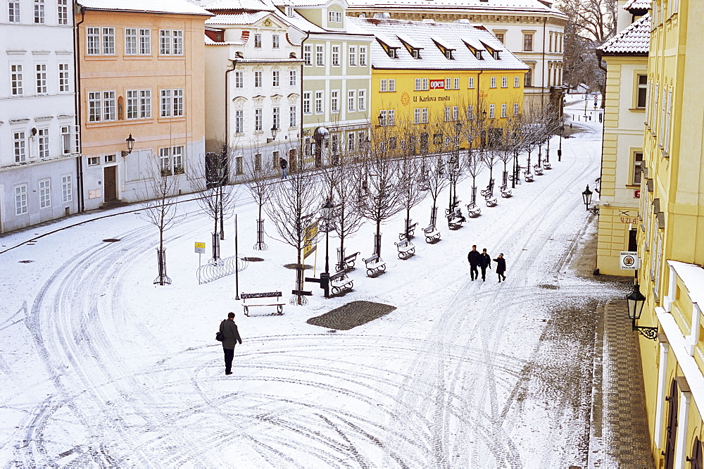 Snow covering Na Kampe Square, Kampa Island, Mala Strana suburb, Prague, Czech Republic, Europe