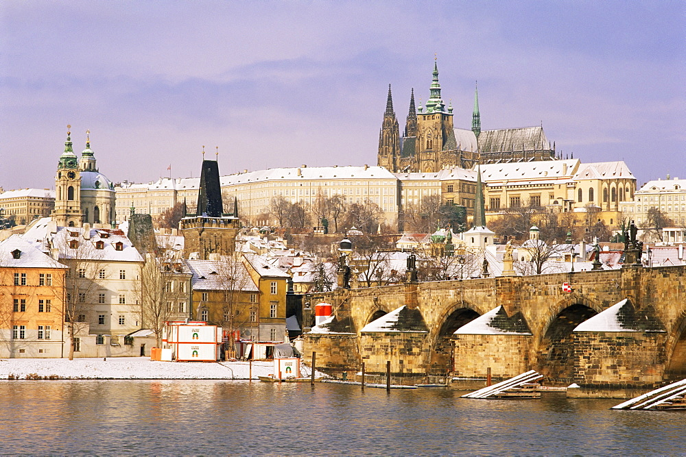 Prague Castle, Charles Bridge, Vltava River and suburb of Mala Strana, Prague, Czech Republic, Europe