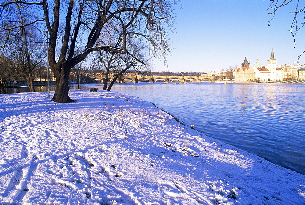 Strelecky Island, Vltava River and Old Town in winter, Mala Strana, Prague, Czech Republic, Europe