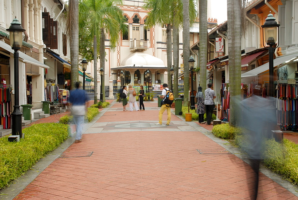 Restaurants, cafes and souvenir shops line Sultan Gate Street at the end of which is Istana Kampong Glam, former Sultan's palace dating from 1840, Arab Quarter, Colonial District, Singapore, Southeast Asia
