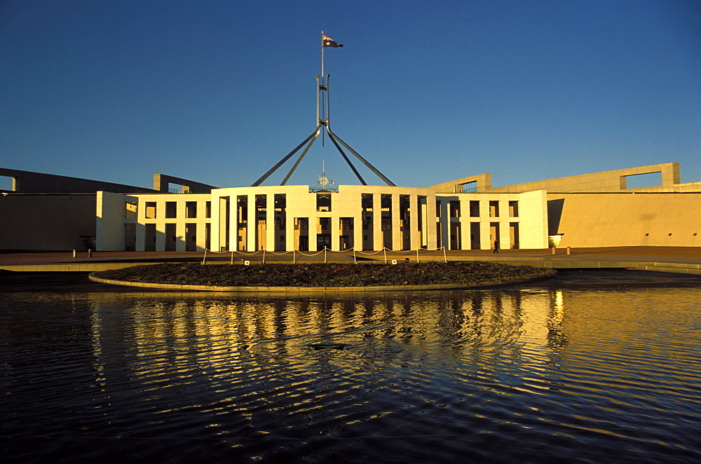 Exterior of Parliament House, early morning, Canberra, A.C.T. (Australian Capital Territory), Australia, Pacific