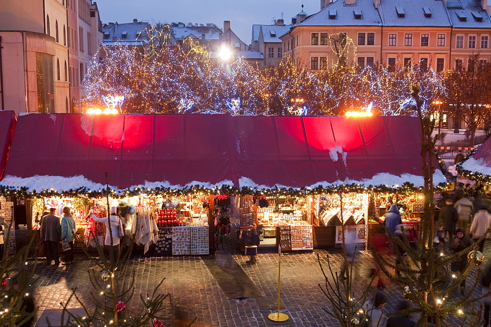 Stalls at Christmas Market in the evening, Old Town Square, Stare Mesto, Prague, Czech Republic, Europe