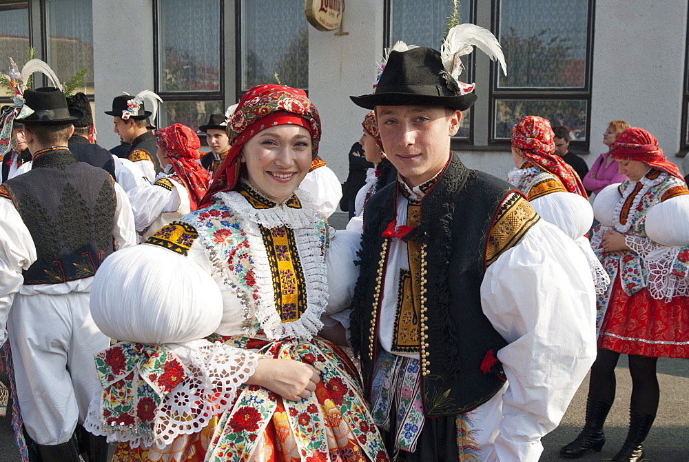 Woman and man wearing folk dress during autumn Feast with Law Festival, Borsice, Brnensko, Czech Republic, Europe - 737-612