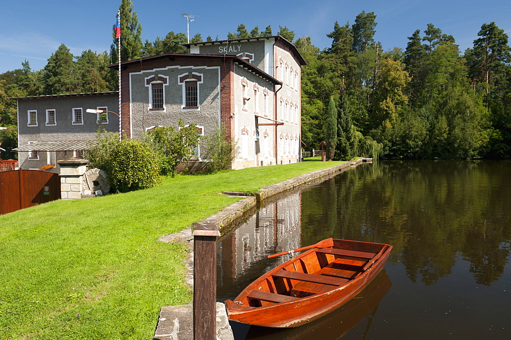Skaly Mill with pond and boat, Slatinany, Pardubicko, Czech Republic, Europe - 737-626