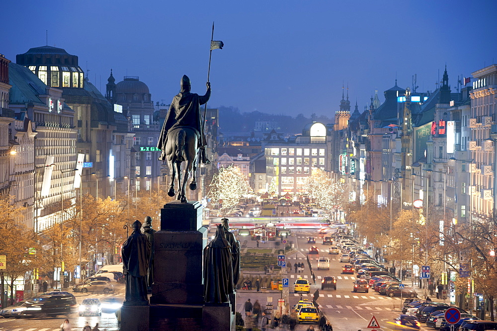 Statue of St. Wenceslas and Wenceslas Square at twilight, Nove Mesto, Prague, Czech Republic, Europe - 737-632
