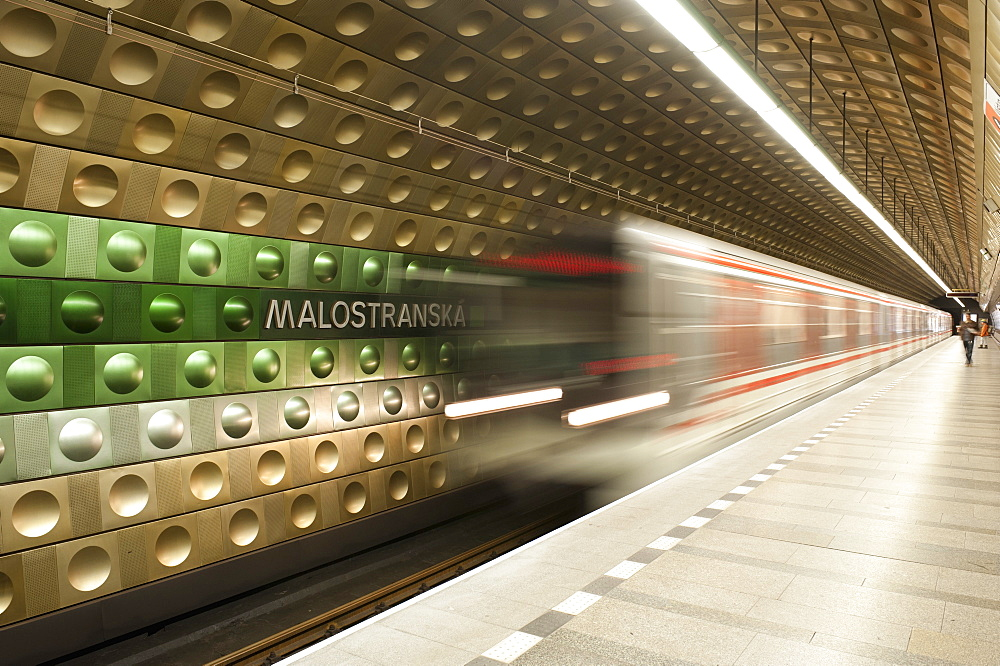 Metro carriages arriving at Malostranska station, Mala Strana, Prague, Czech Republic, Europe - 737-633