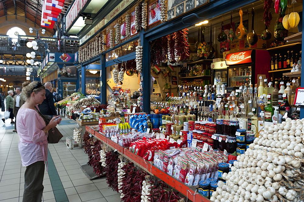 Woman shopping inside Nagycsarnok Market, Budapest, Hungary, Europe - 737-642