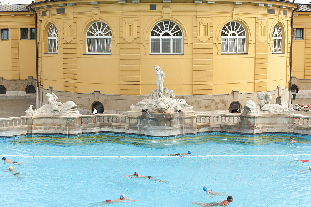 Outdoor pool with men and women at Szechenyi Thermal Baths, Budapest, Hungary, Europe - 737-648